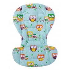Вкладыш на стульчик для кормления и коляску совы на зеленом